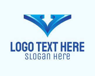 Mouse Pointer - Gradient Letter V logo design