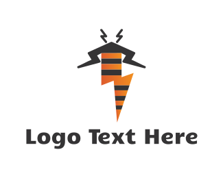 Electrical - Electric Thunder Bolt Bee logo design