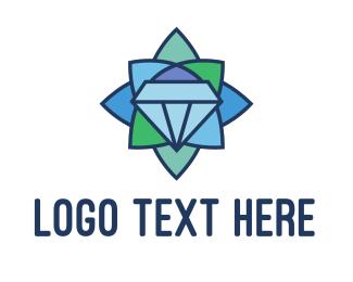 Floral - Mosaic Floral Diamond logo design