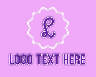 Pastry - Violet Pastry Shop Badge Letter logo design