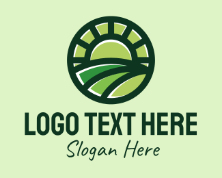 Rice Field - Agricultural Farming Badge logo design