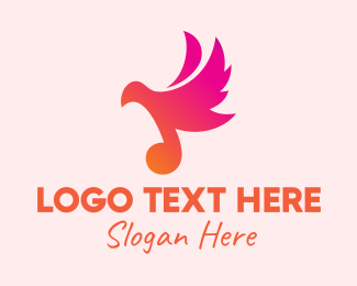 Melody - Gradient Musical Note Bird logo design