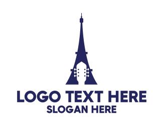 Eiffel - Blue Eiffel Guitar logo design