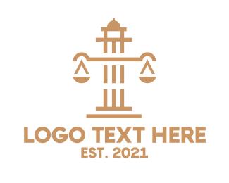 Judge - Legal Scales Pillar logo design