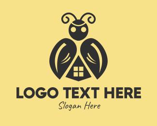 Pest - Black Beetle Home  logo design