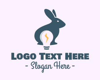 Rabbit Ears - Electric Bunny Light Bulb logo design