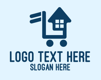 Push Cart - House Key Shopping Cart  logo design