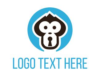 Blockchain - Monkey Lock logo design