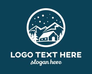 Cabin - Snow Mountain  logo design