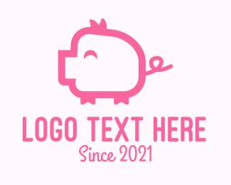Hog Raising - Cute Pink Pig  logo design
