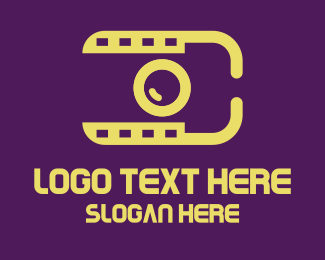 Travel Vlogger - Yellow Photography Video Camera logo design