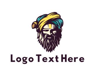 Muslim - Bearded Sultan logo design