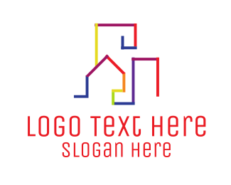 Real Estate Development - Colorful Skyline logo design
