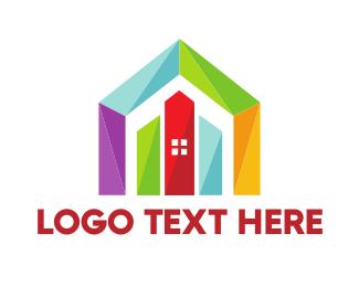 Estate Agency - Colorful Geometric House logo design