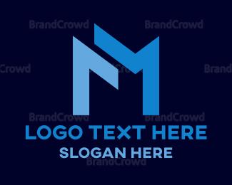 Asset Management - Blue Letter M logo design
