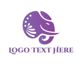Hinduism - Violet Decorative Elephant logo design