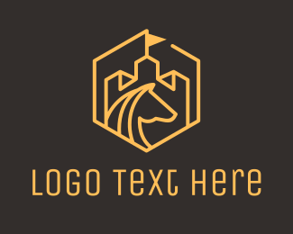 Mule - Horse Turret Monoline Badge logo design