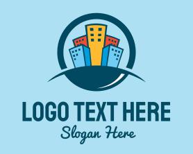 Town - City Apartment Office Buildings logo design