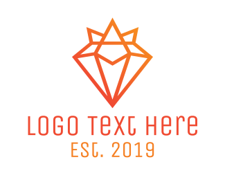 Monogram - Gradient Diamond Crown logo design