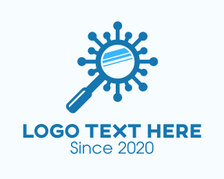 Investigate - Blue Virus Magnifying Glass logo design