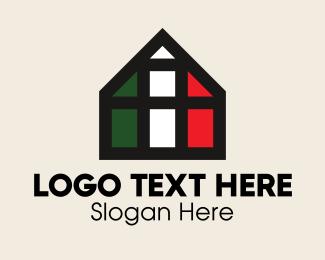 Italian - Italian Flag Grid House logo design