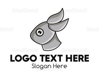 Bounce - Grey Rabbit Outline logo design