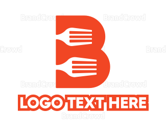 Dine - Orange B Fork logo design