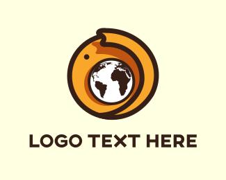 World - Elephant Globe logo design