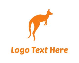 Hop - Orange Kangaroo logo design