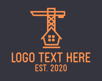 Residence - Orange House Construction Crane logo design