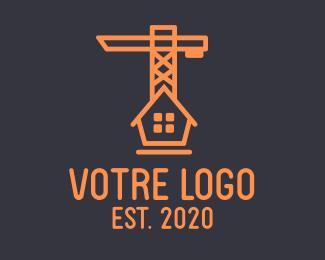 Construction Orange House Construction Crane logo design