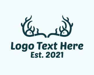 Vintage - Antler Fish Horns logo design