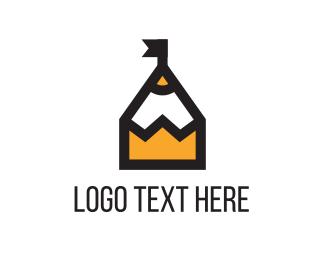School - Pencil Castle logo design