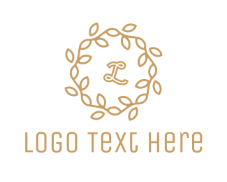 Skin Care - Golden Wreath Lettermark logo design