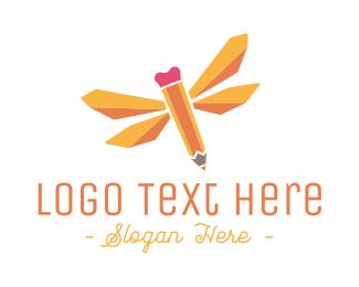 Kids - Dragonfly Pencil logo design