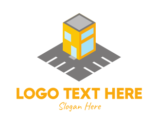 Park - Yellow Building Parking Lot logo design