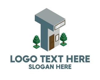 White House - Modern Building Letter T logo design