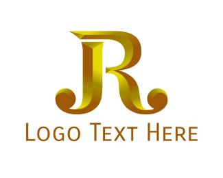 Letter J - Golden J & R logo design