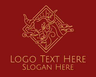 Tradition - Golden Ox Outline logo design