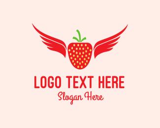 Strawberry - Flying Strawberry logo design