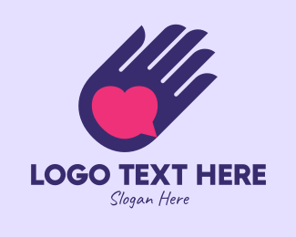 Dating Forum - Heart Message Hand  logo design