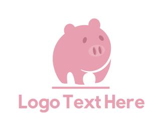 Piglet - Pink Pig logo design
