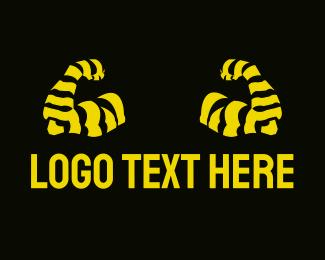 Zebra - Muscle Arms logo design