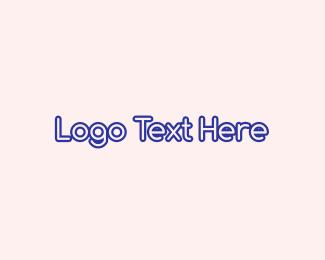 Purple Outline Text Logo
