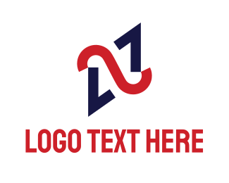 Combination - Blue Red Monogram N logo design