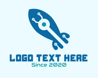 Rocket Launch - Tech Blue Rocker logo design