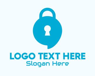 Locked - Blue Security Lock Chat logo design