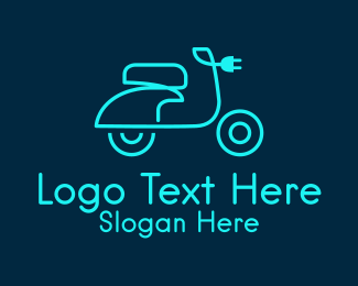 Transportation System - Neon Electric Scooter  logo design