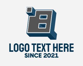 Blocky - 3D Graffiti Number 8 logo design