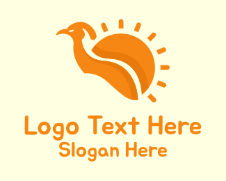 Peafowl - Orange Sun Bird logo design